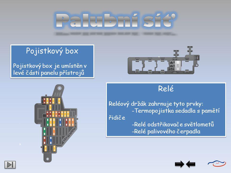 Palubní síť Pojistkový box Relé