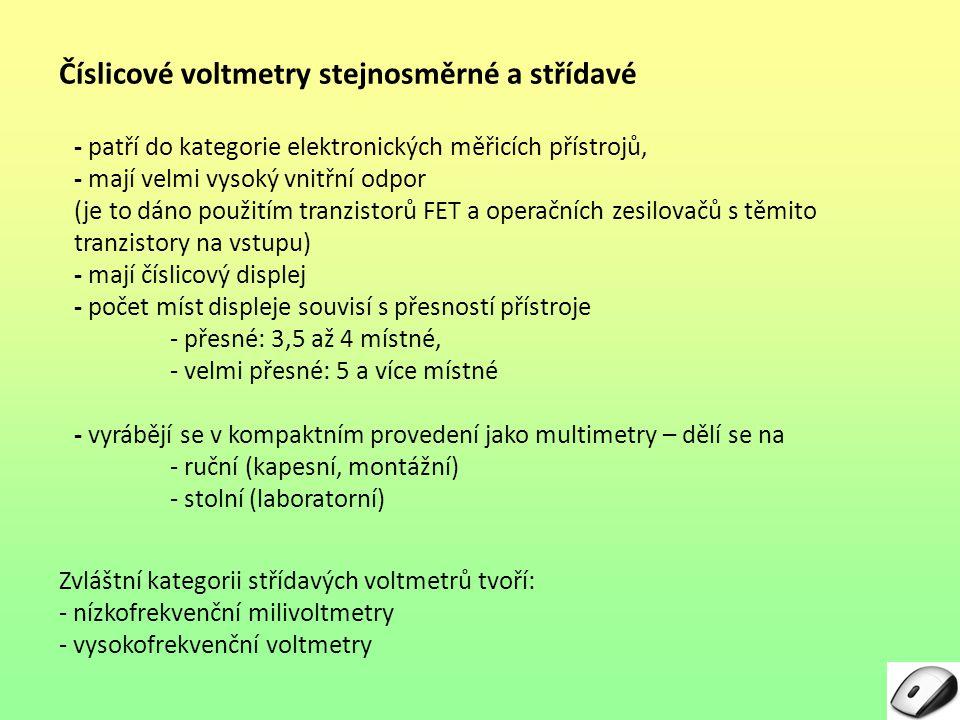 Číslicové voltmetry stejnosměrné a střídavé