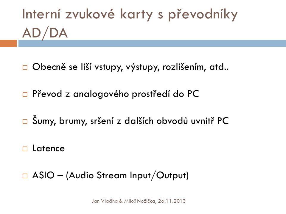 Interní zvukové karty s převodníky AD/DA
