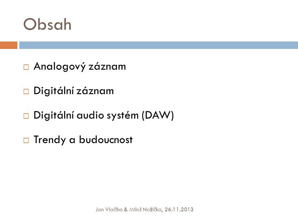 Obsah Analogový záznam Digitální záznam Digitální audio systém (DAW)