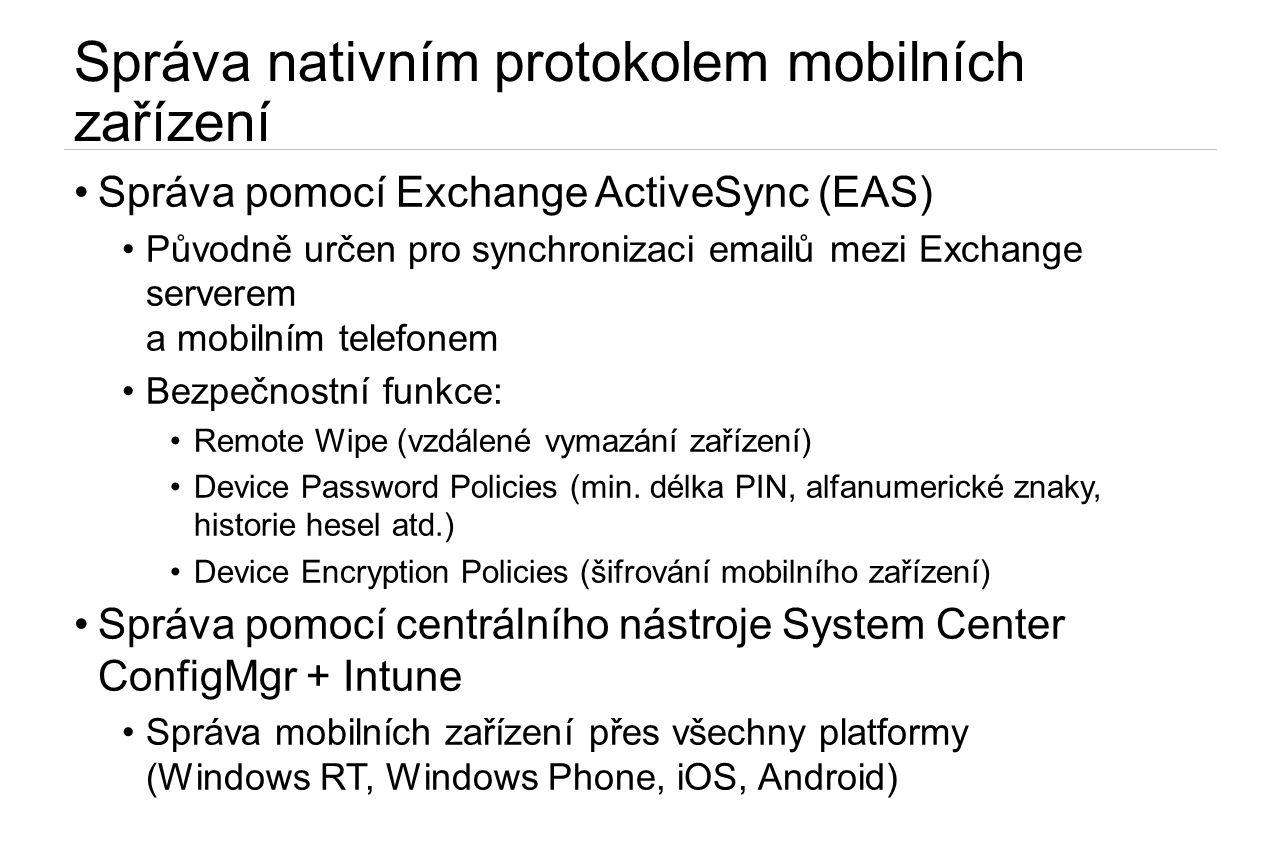 Správa nativním protokolem mobilních zařízení