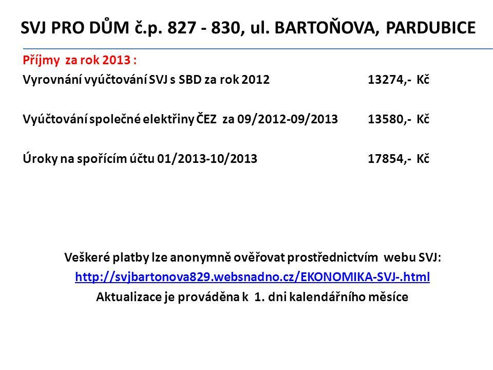 SVJ PRO DŮM č.p. 827 - 830' ul. BARTOŇOVA' PARDUBICE