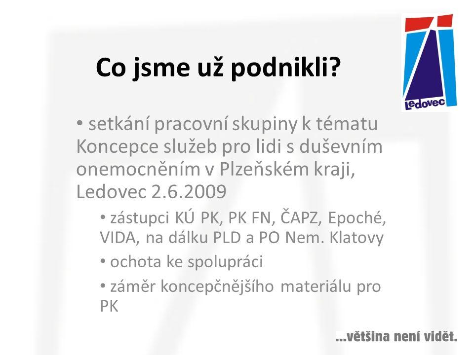 Co jsme už podnikli setkání pracovní skupiny k tématu Koncepce služeb pro lidi s duševním onemocněním v Plzeňském kraji, Ledovec 2.6.2009.