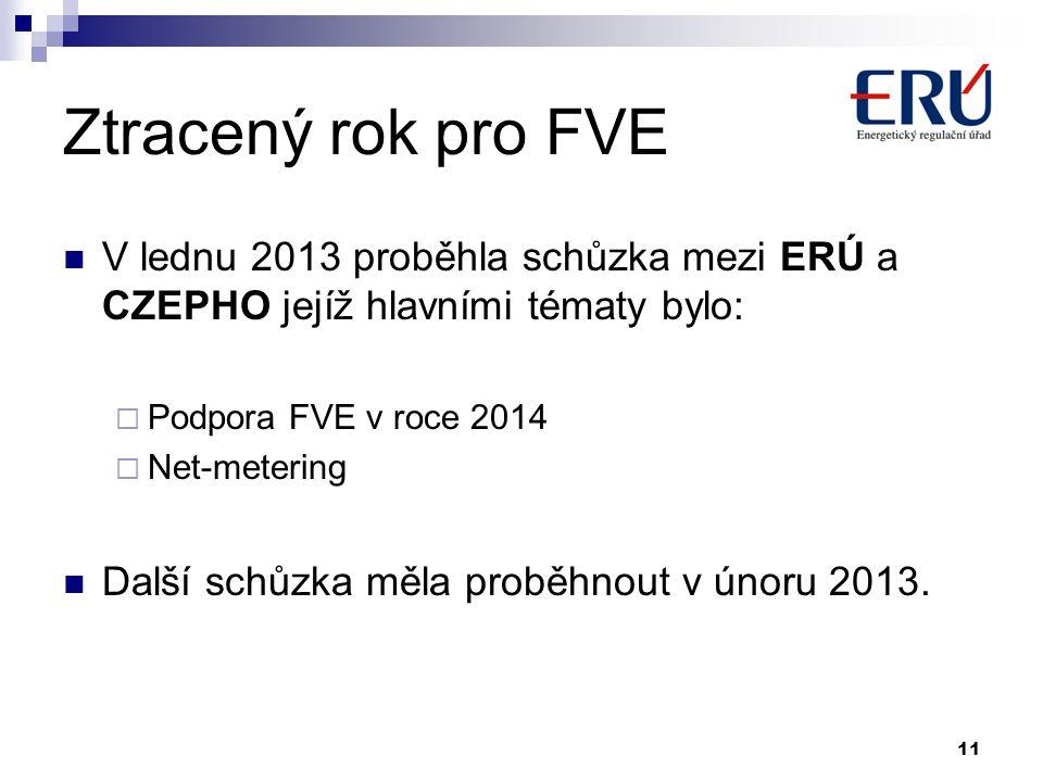 Ztracený rok pro FVE V lednu 2013 proběhla schůzka mezi ERÚ a CZEPHO jejíž hlavními tématy bylo: Podpora FVE v roce 2014.