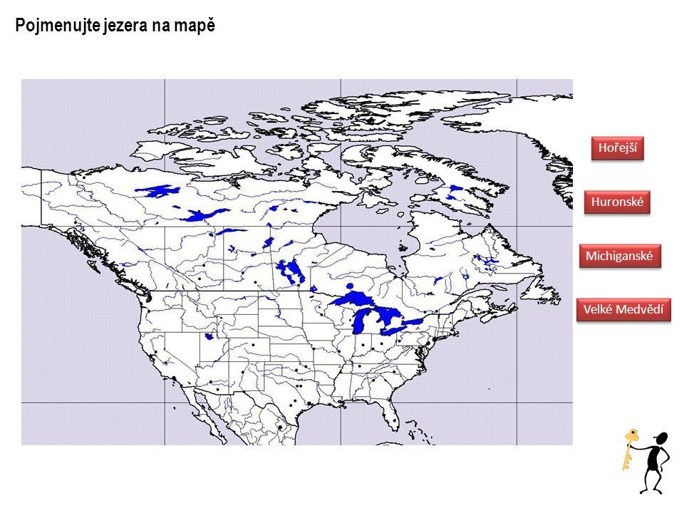 Pojmenujte jezera na mapě