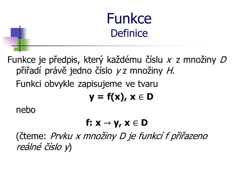 Funkce Definice Funkce je předpis, který každému číslu x z množiny D přiřadí právě jedno číslo y z množiny H.