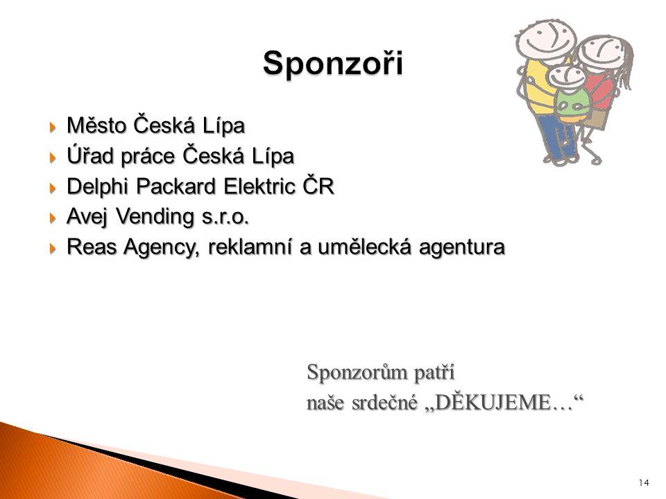 Sponzoři Město Česká Lípa Úřad práce Česká Lípa