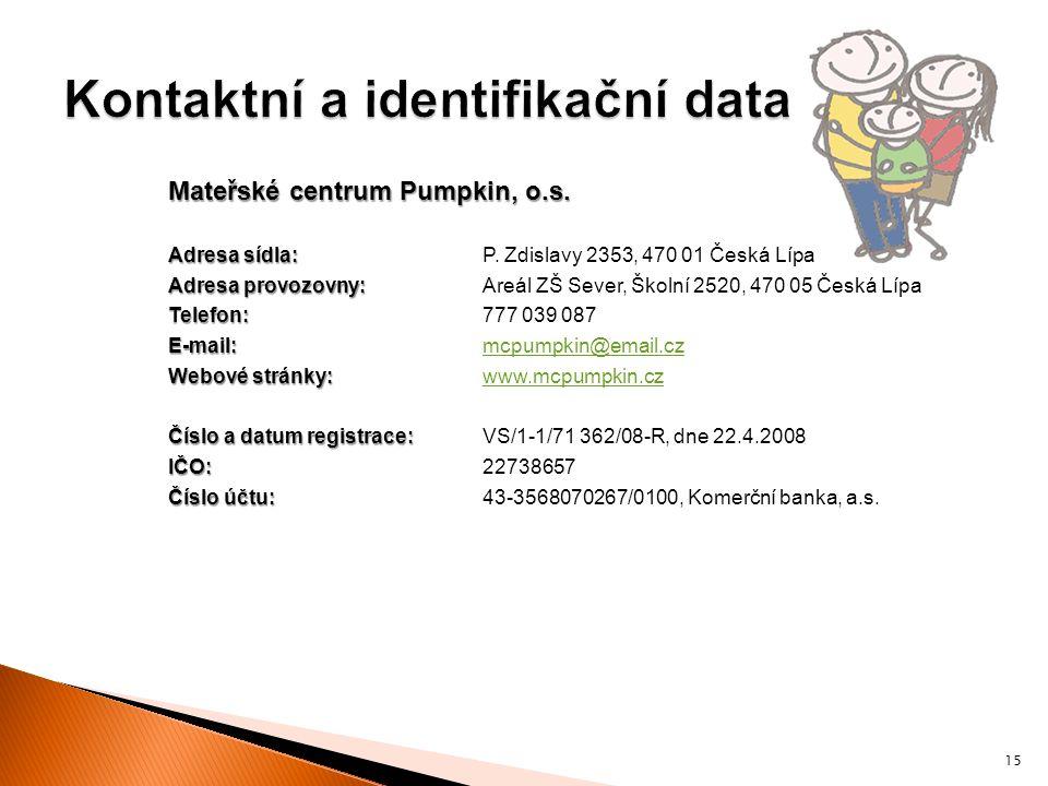 Kontaktní a identifikační data