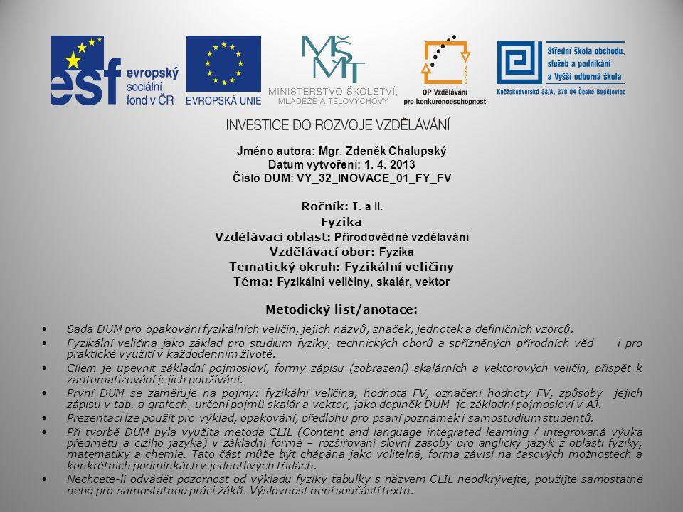 Jméno autora: Mgr. Zdeněk Chalupský Datum vytvoření: 1. 4. 2013