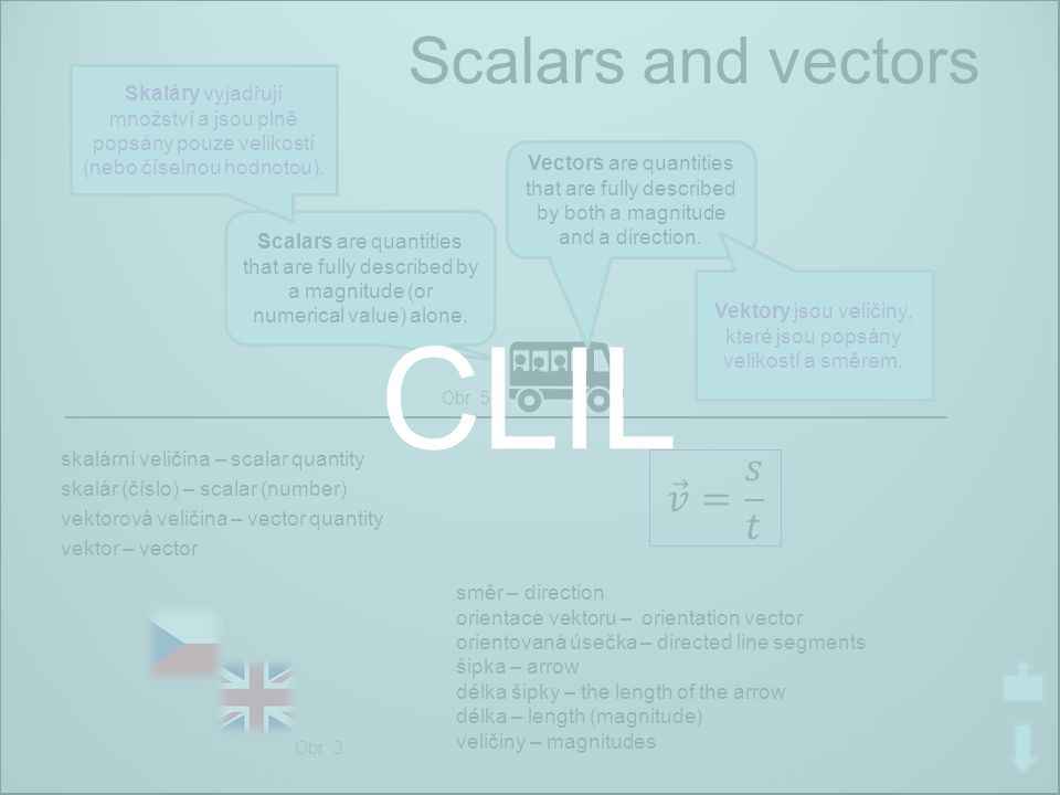 CLIL Scalars and vectors 𝑣 = 𝑠 𝑡 Skaláry vyjadřují