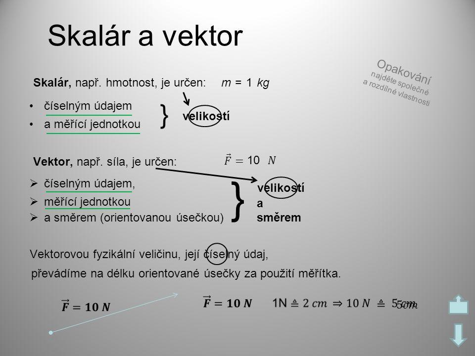 } Skalár a vektor } Opakování Skalár, např. hmotnost, je určen: m = 1