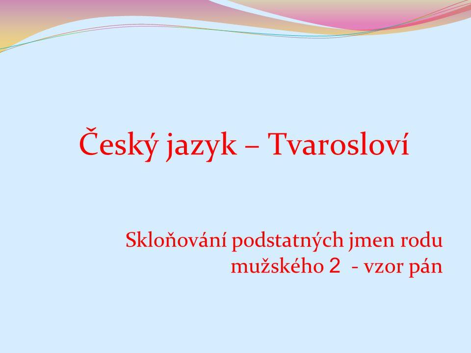 mužského 2 - vzor pán Český jazyk – Tvarosloví