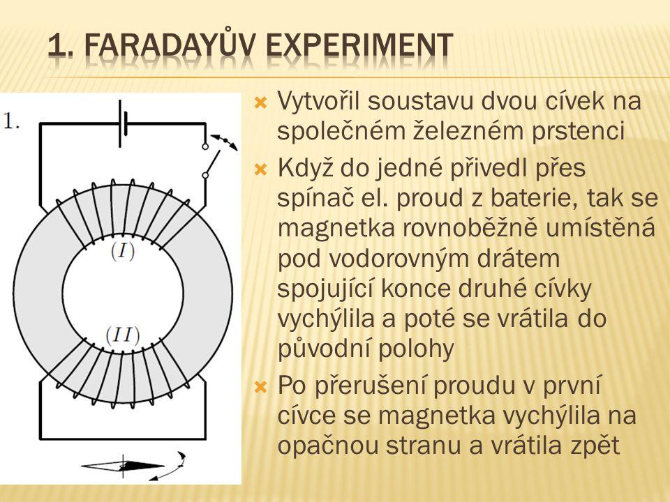 1. Faradayův experiment Vytvořil soustavu dvou cívek na společném železném prstenci.