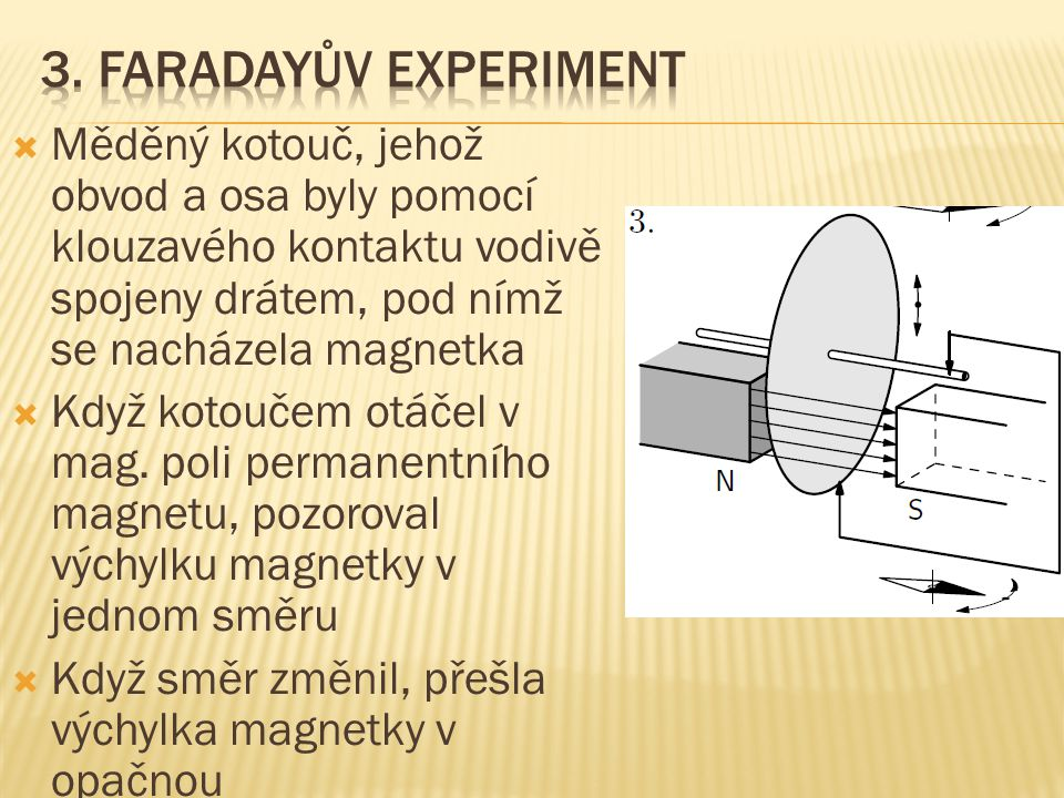 3. Faradayův experiment Měděný kotouč, jehož obvod a osa byly pomocí klouzavého kontaktu vodivě spojeny drátem, pod nímž se nacházela magnetka.
