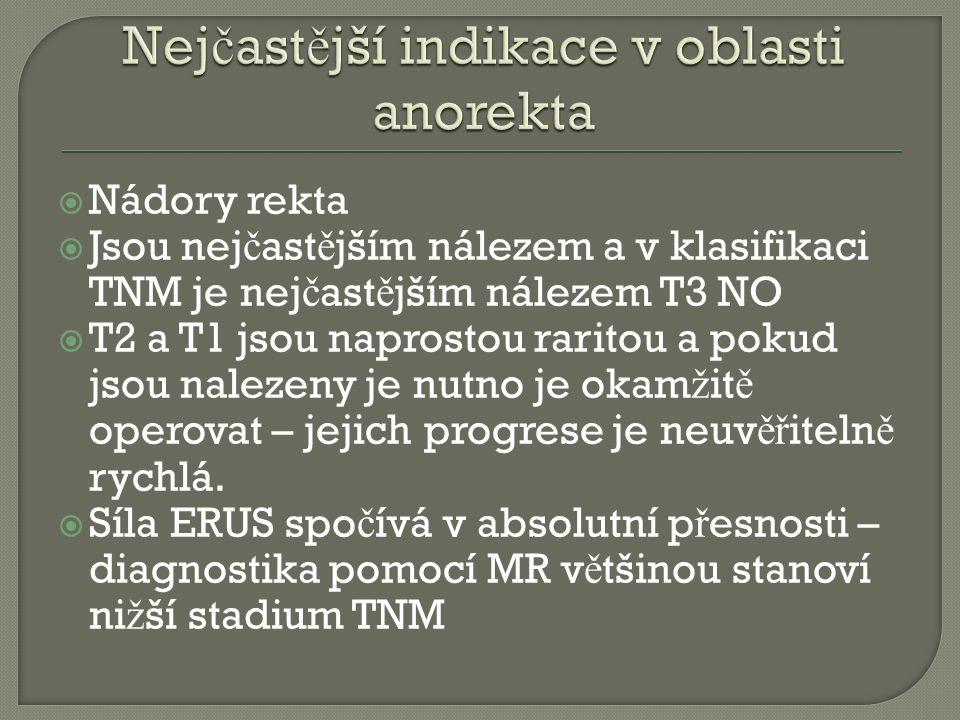 Nejčastější indikace v oblasti anorekta
