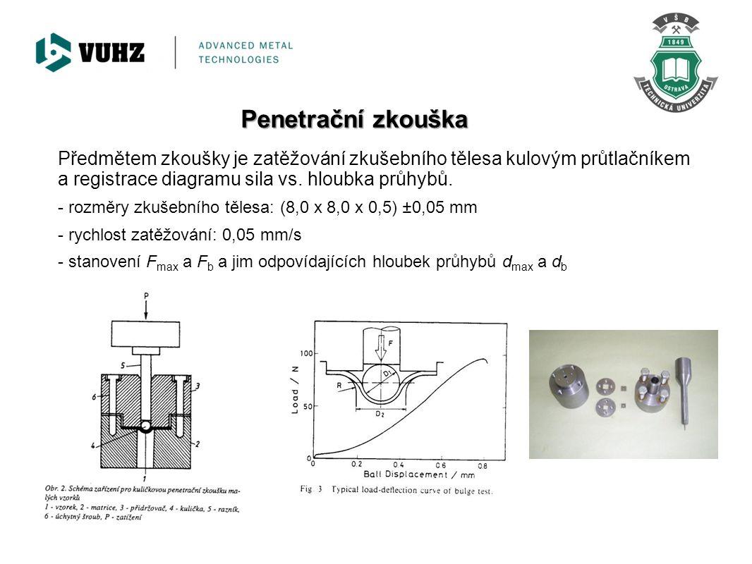 Penetrační zkouška Předmětem zkoušky je zatěžování zkušebního tělesa kulovým průtlačníkem a registrace diagramu sila vs. hloubka průhybů.