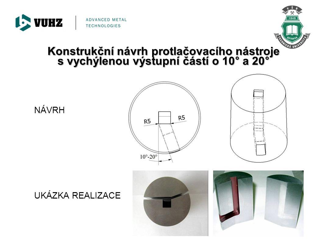 Konstrukční návrh protlačovacího nástroje s vychýlenou výstupní částí o 10° a 20°