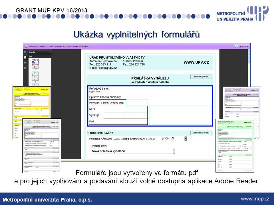 Ukázka vyplnitelných formulářů