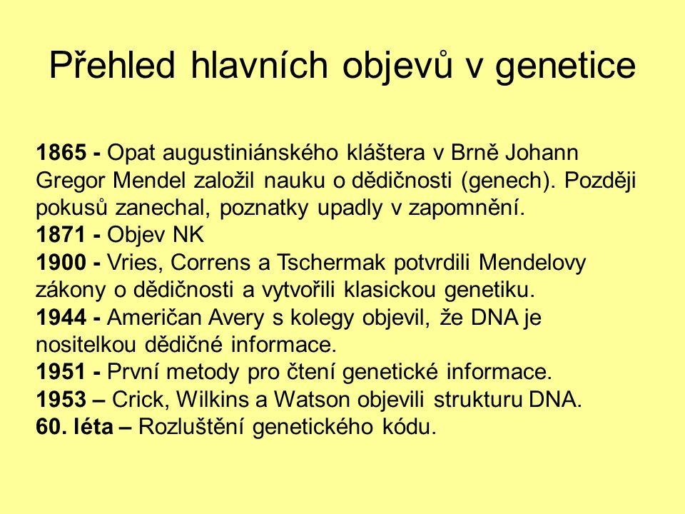 Přehled hlavních objevů v genetice