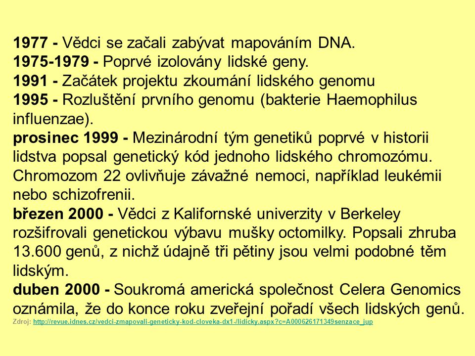 1977 - Vědci se začali zabývat mapováním DNA