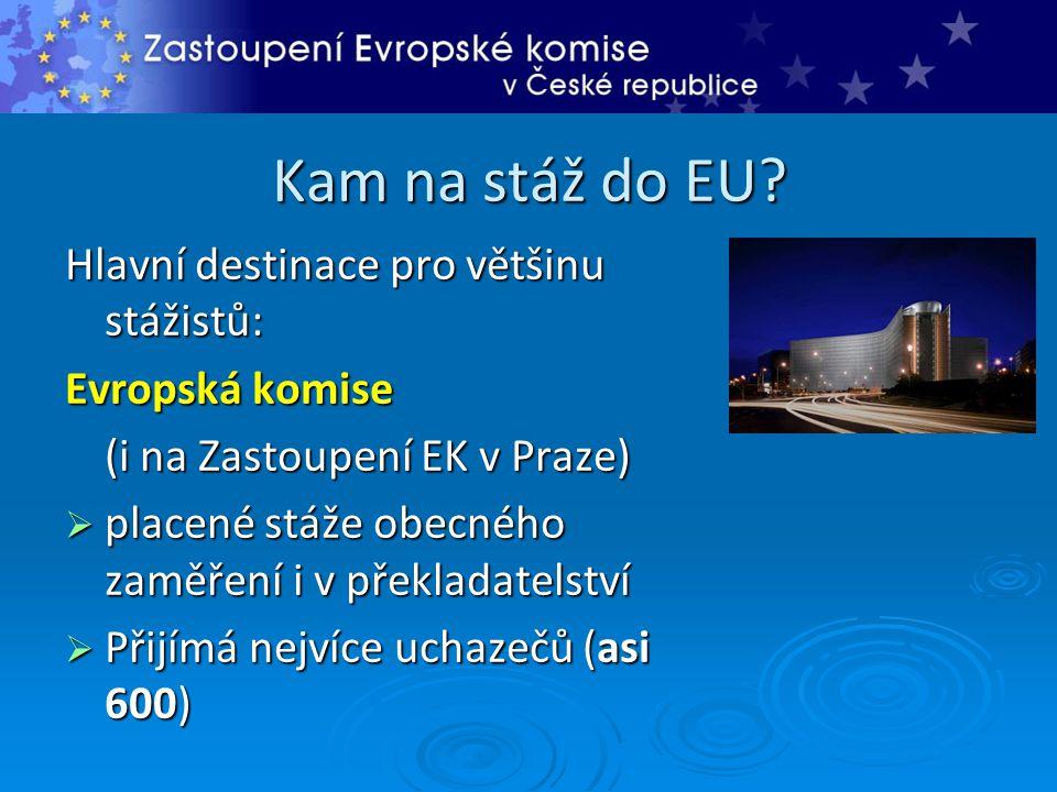 Kam na stáž do EU Hlavní destinace pro většinu stážistů: