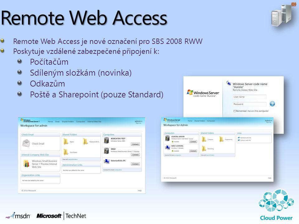 Remote Web Access Počítačům Sdíleným složkám (novinka) Odkazům