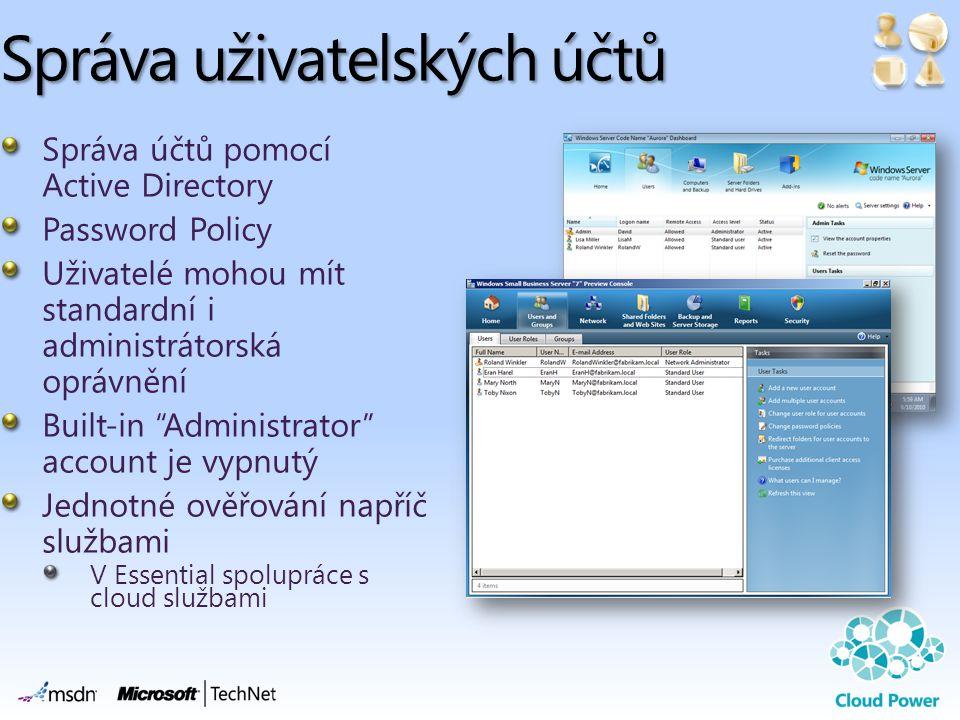 Správa uživatelských účtů