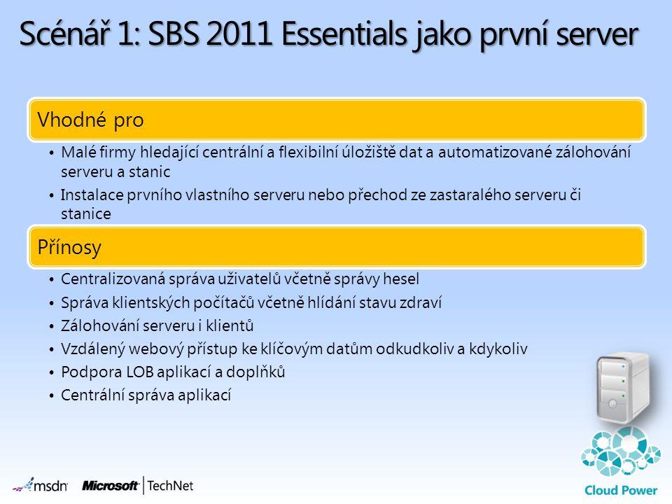 Scénář 1: SBS 2011 Essentials jako první server