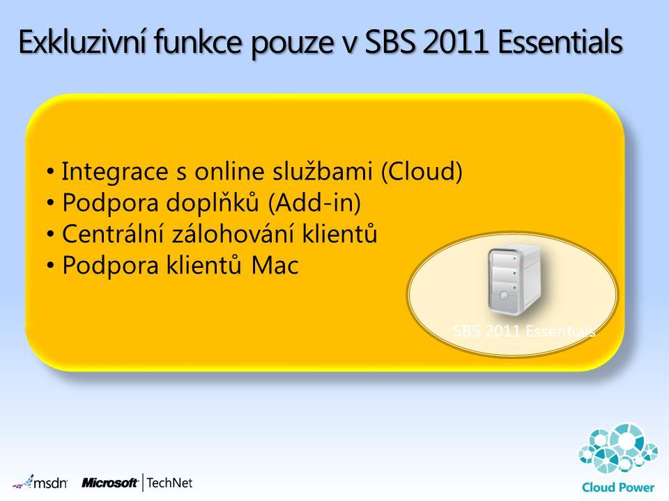 Exkluzivní funkce pouze v SBS 2011 Essentials