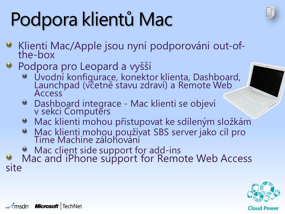 Podpora klientů Mac Klienti Mac/Apple jsou nyní podporováni out-of-the-box. Podpora pro Leopard a vyšší.