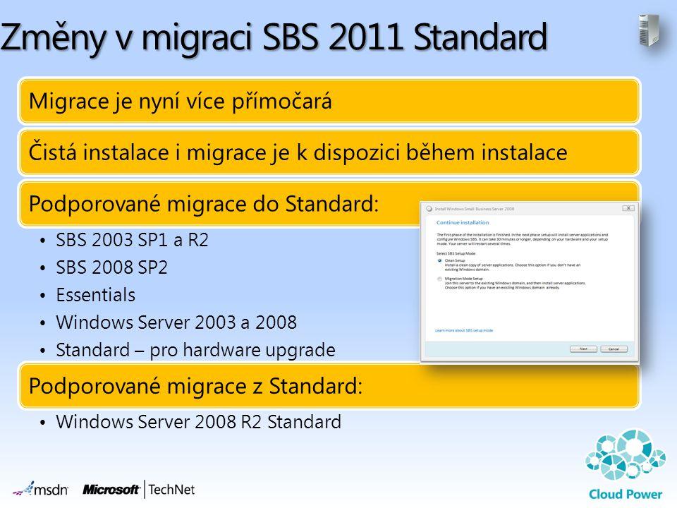 Změny v migraci SBS 2011 Standard