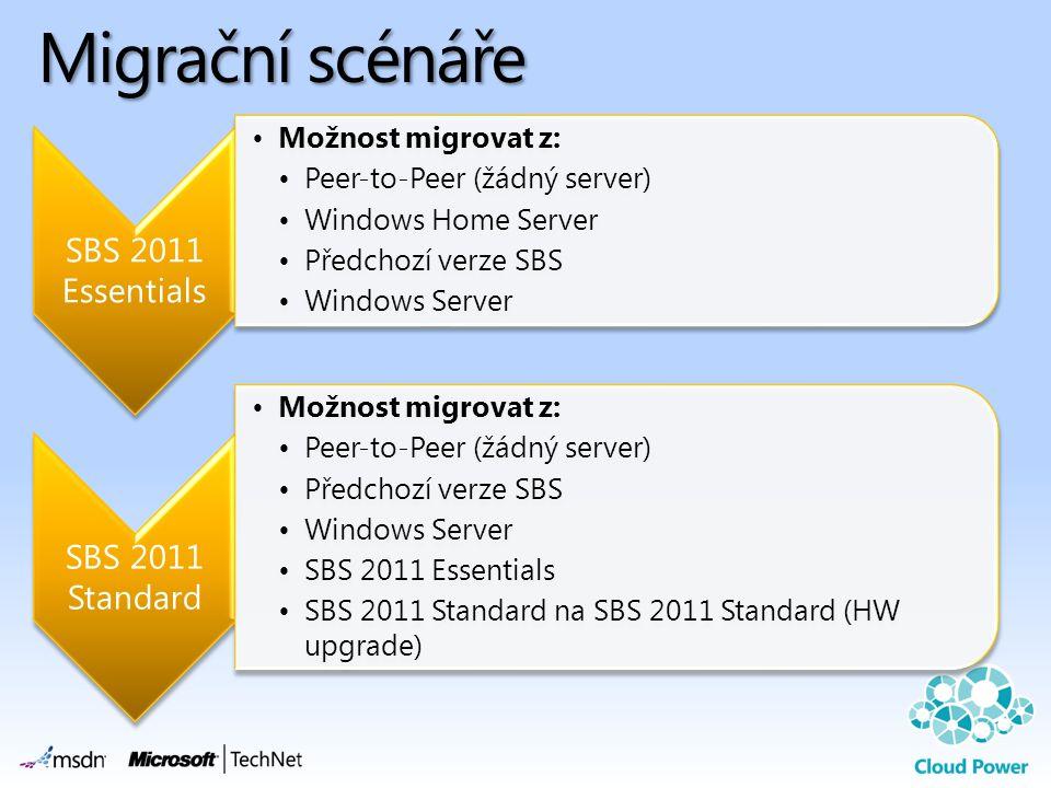 Migrační scénáře SBS 2011 Essentials SBS 2011 Standard