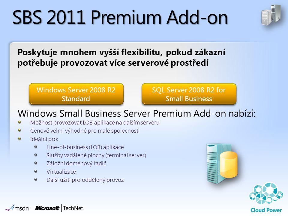 SBS 2011 Premium Add-on Poskytuje mnohem vyšší flexibilitu, pokud zákazní potřebuje provozovat více serverové prostředí.