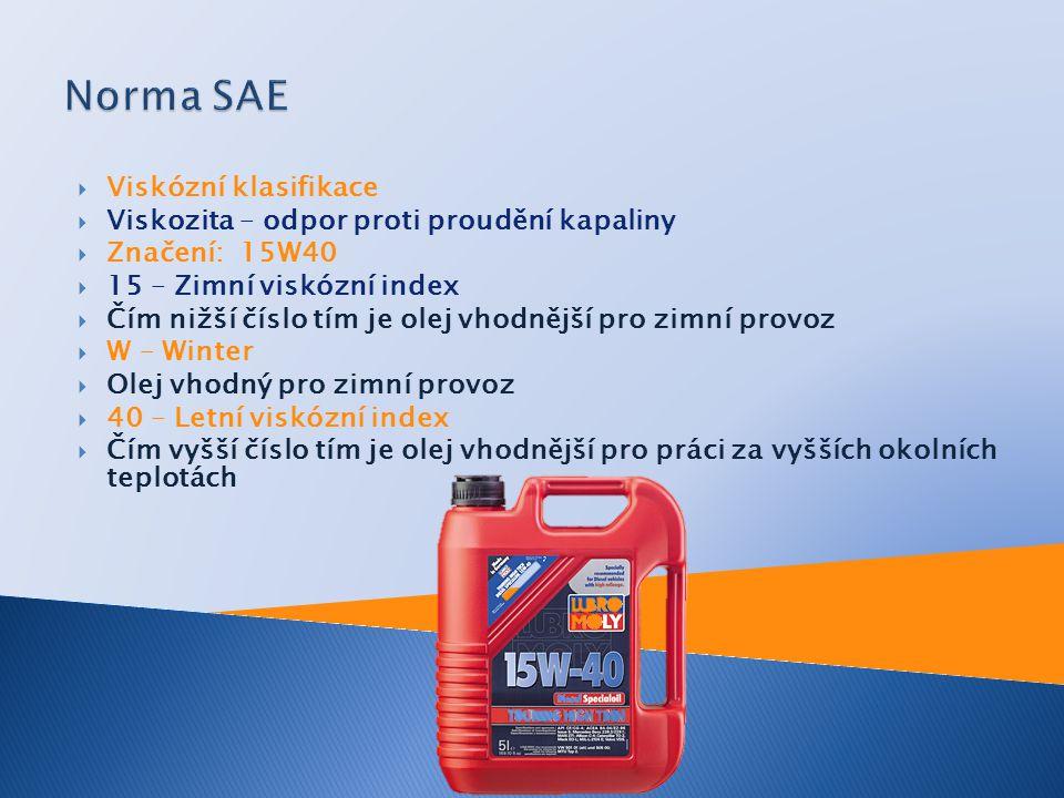 Norma SAE Viskózní klasifikace