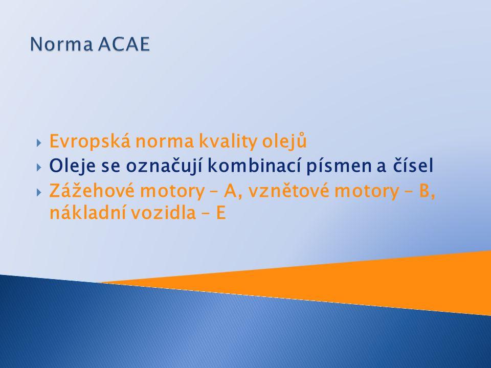Norma ACAE Evropská norma kvality olejů