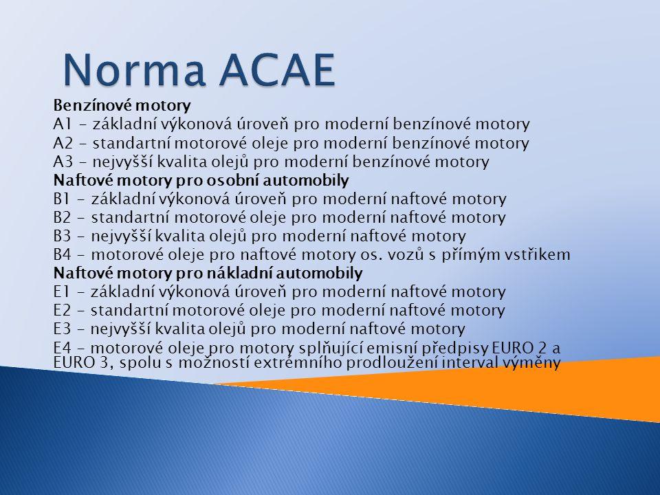 Norma ACAE Benzínové motory