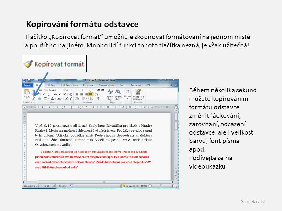Kopírování formátu odstavce