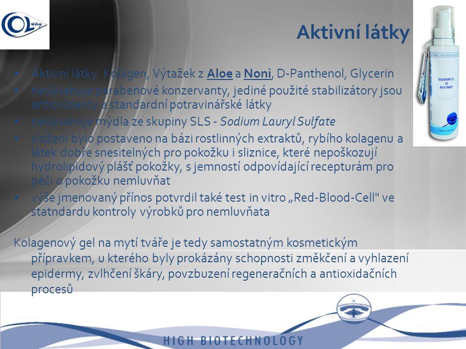 Aktivní látky Aktivní látky : Kolagen, Výtažek z Aloe a Noni, D-Panthenol, Glycerin.