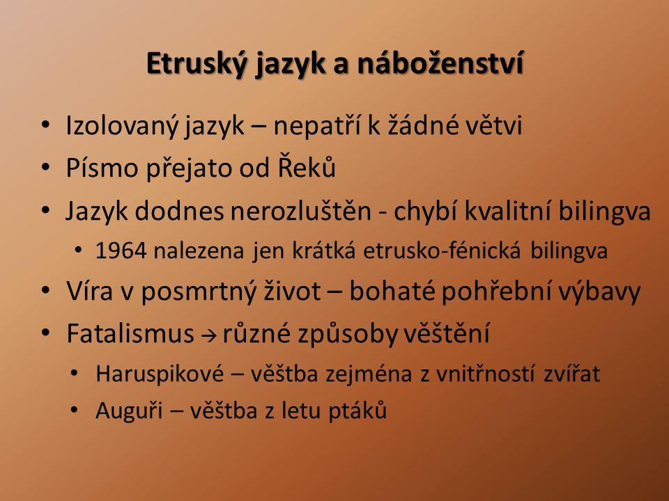 Etruský jazyk a náboženství