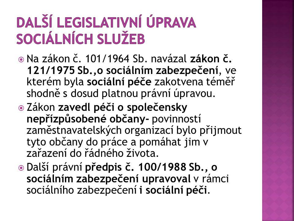 Další legislativní úprava sociálních služeb
