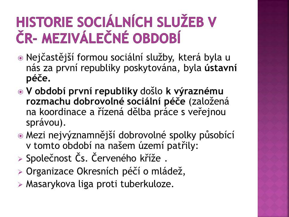 Historie Sociálních služeb v ČR- meziválečné období