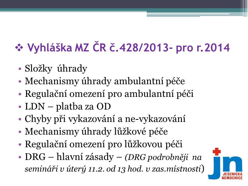 Vyhláška MZ ČR č.428/2013- pro r.2014 Složky úhrady