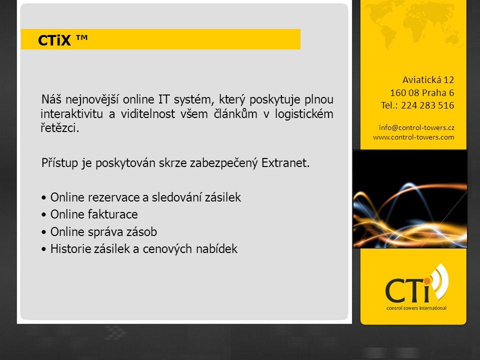 CTiX ™ Aviatická 12. 160 08 Praha 6. Tel.: 224 283 516. info@control-towers.cz. www.control-towers.com.