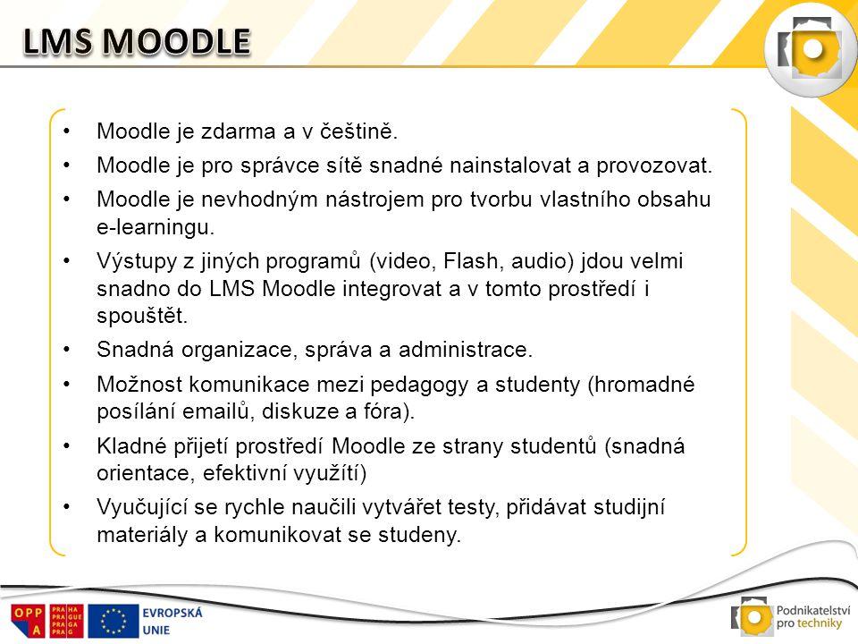 LMS MOODLE Moodle je zdarma a v češtině.