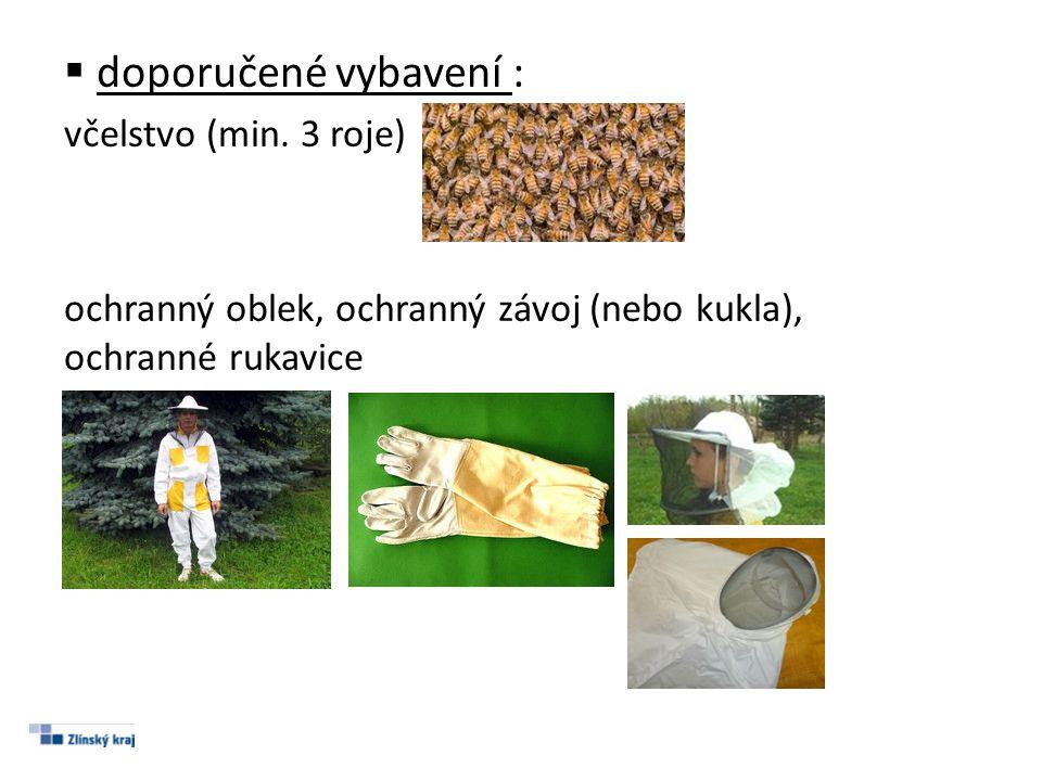 doporučené vybavení : včelstvo (min. 3 roje)