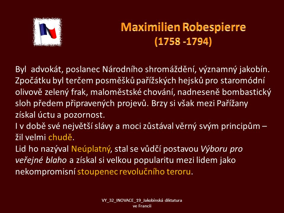 Maximilien Robespierre (1758 -1794)