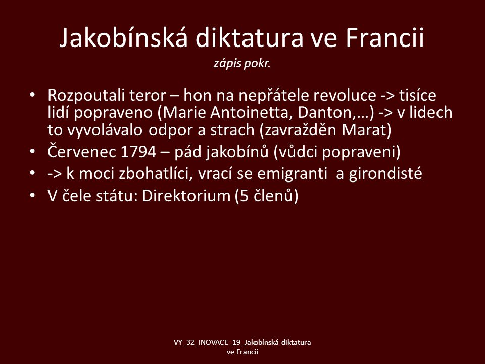 Jakobínská diktatura ve Francii zápis pokr.