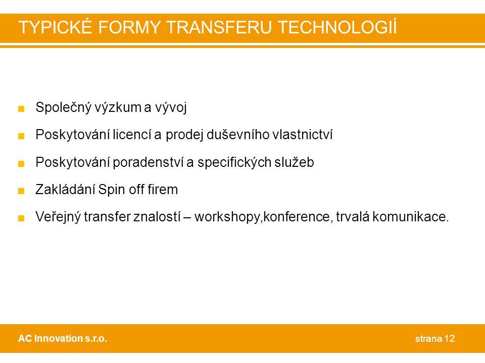 TYPICKÉ FORMY TRANSFERU TECHNOLOGIÍ