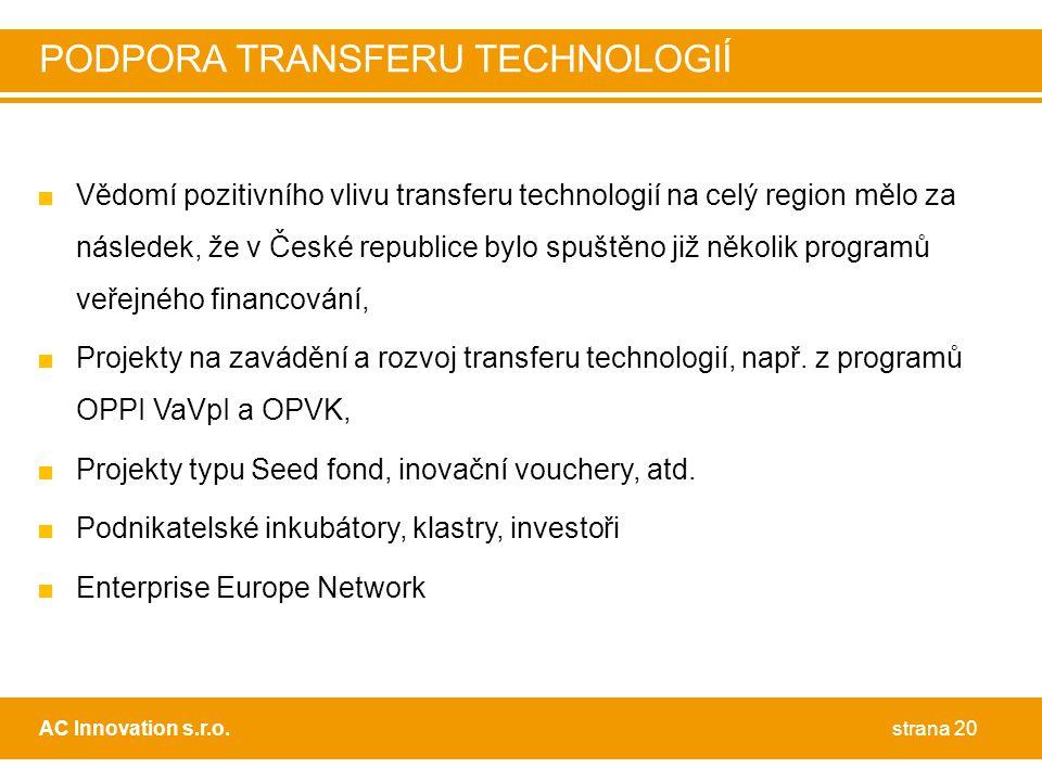 PODPORA TRANSFERU TECHNOLOGIÍ