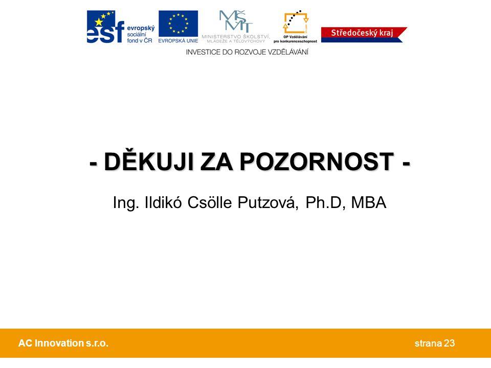 Ing. Ildikó Csölle Putzová, Ph.D, MBA
